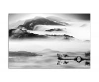 120x80cm Landschaft Berge Nebel China grau
