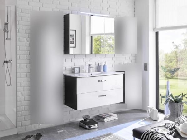 """Badezimmer Grey """"Manhattan"""" Hochglanz in Grau und Fronten in MDF Weiß 3 teilig mit Waschbeckenunters"""