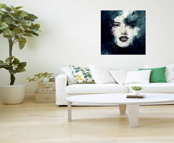 80x80cm Handmalerei Frau Gesicht abstrakt
