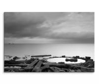 120x80cm Wandbild Schottland Steine Meer Wolken