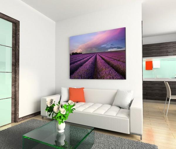 120x80cm Wandbild Lavendelfeld Sommer Landschaft Dämmerung