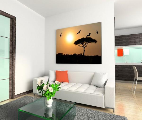 120x80cm Wandbild Afrika Safari Sonnenuntergang Akazie Baum Vögel