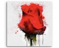 Illustration - Knallrote Rose im Splash Art Stil auf Leinwand