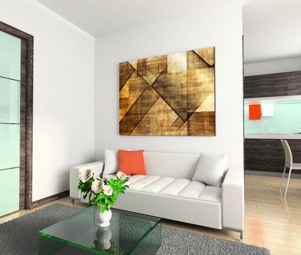 120x80cm Wandbild Geometrie Hintergrund abstrakt braun beige