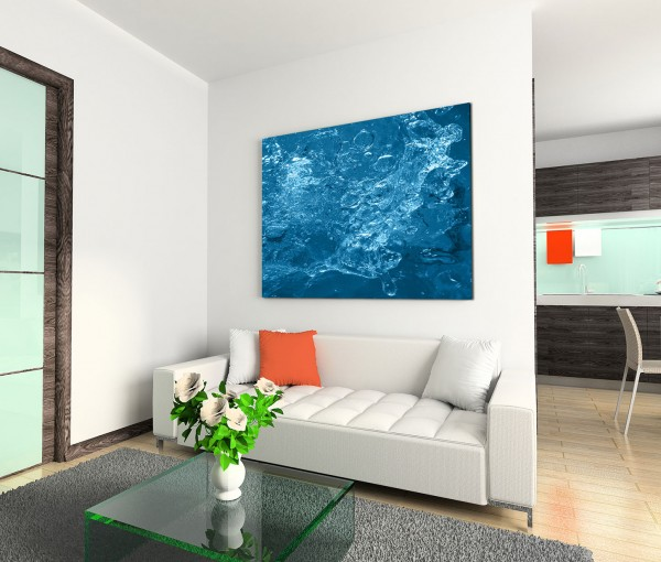 120x80cm Wandbild Wasser Luftblasen abstrakt Hintergrund blau