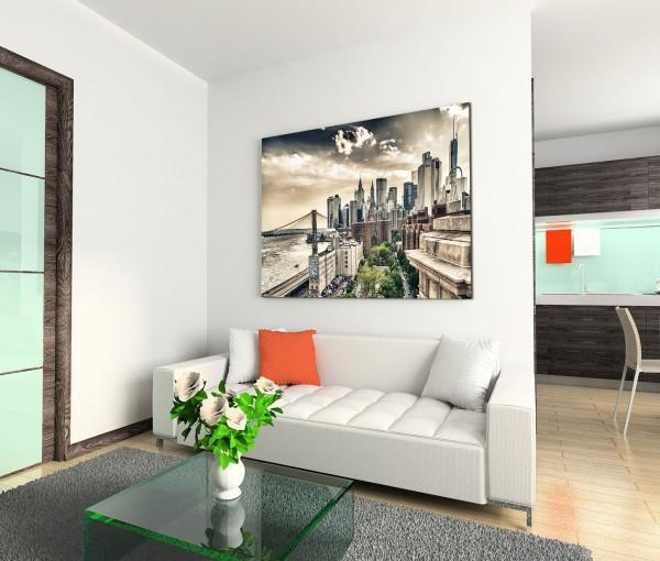 120x80cm Wandbild Manhattan Gebäude Brücke Sonnenuntergang