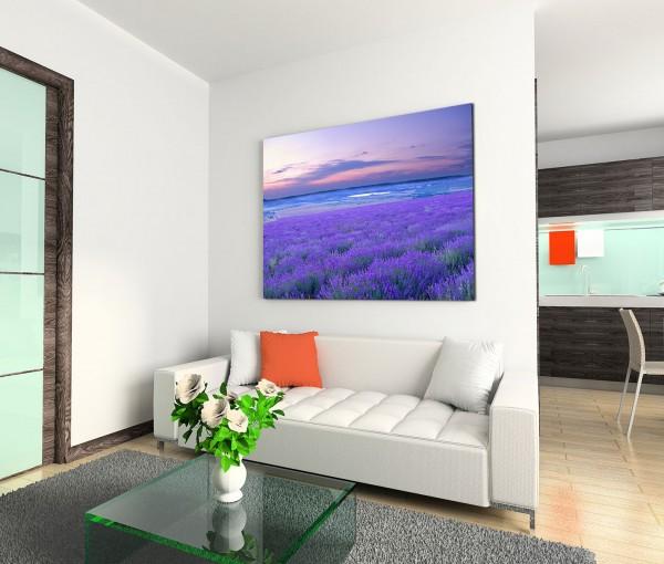 120x80cm Wandbild Lavendel Wiese Abendrot