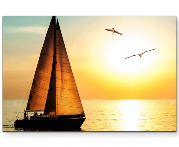 Fotografie – Yacht im Sonnenuntergang - Leinwandbild