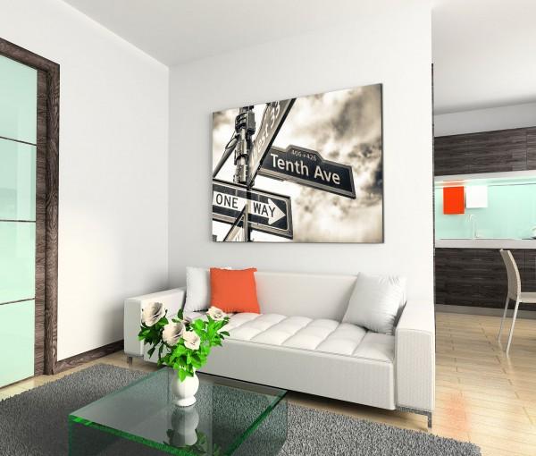120x80cm Wandbild Straßenschild Manhattan schwarz weiß