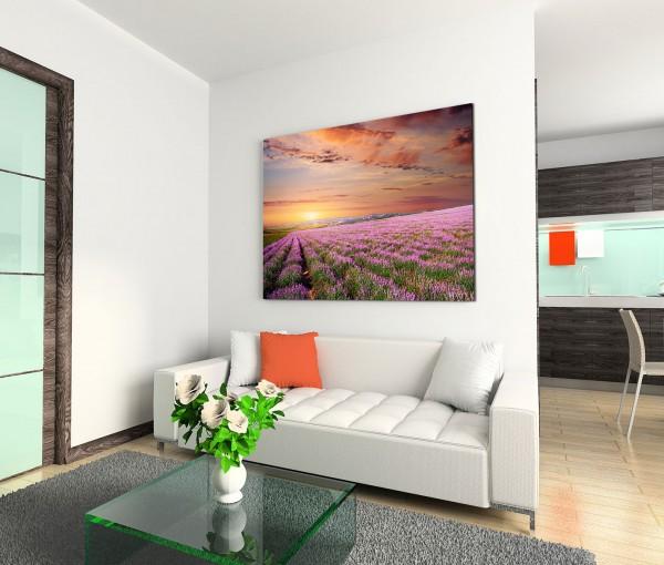 120x80cm Wandbild Lavendelfeld Abendrot Sonnenuntergang