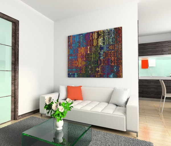 120x80cm Wandbild Hintergrund abstrakt blau orange grün braun