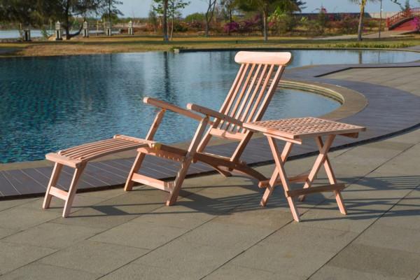 Gartenmöbel Set Aluna 2 teilig aus Teakholz komplett mit Gartenliege und Beistelltisch
