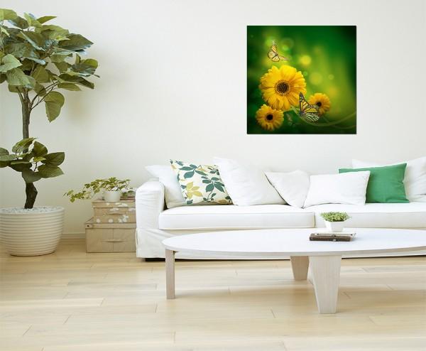80x80cm Gerbera Blüte Blume Schmetterling