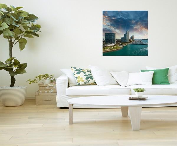 80x80cm Miami Gebäude Meer Boote Wolkenhimmel