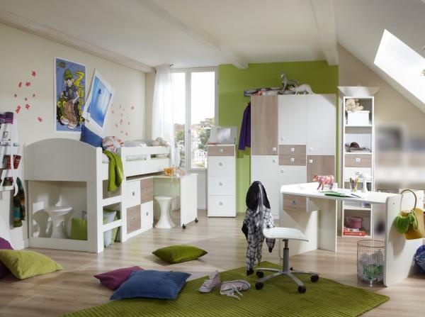 Jugendzimmer Sunny in Weiß mit Eiche Sägerau 5 teiliges +++ von möbel-direkt+++ schnell und günstig
