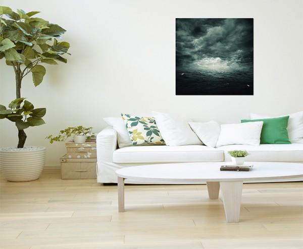 80x80cm Ozean Sturm Wellen Wolkenhimmel Blitze