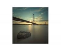 80x80cm Brücke Wasser Gebäude Kiew Sonnenstrahlen