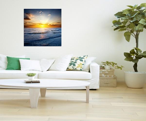 80x80cm Sonnenuntergang Meer Wellen