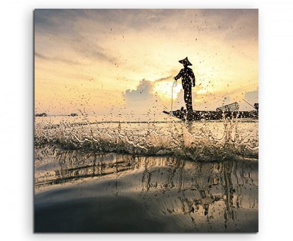 Arbeiterfotografie – Fischer im Boot auf Leinwand