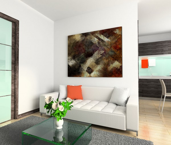 120x80cm Wandbild Kunstmalerei Acryl abstrakt schwarz braun grau beige