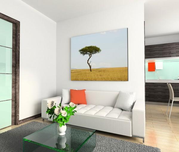 120x80cm Wandbild Kenia Savanne Akazie Baum