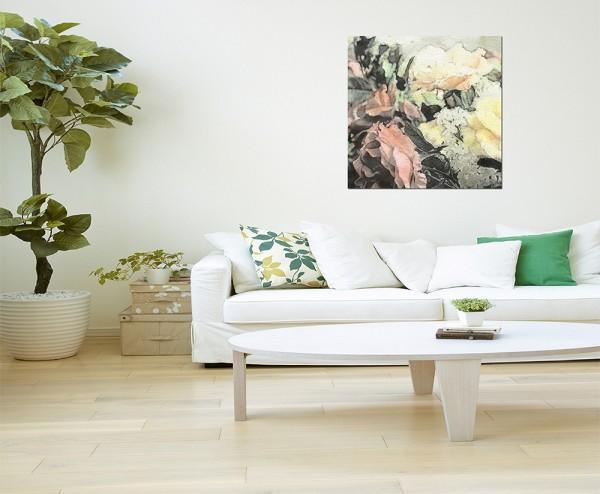 80x80cm Gemälde Malerei Blumen bunt abstrakt