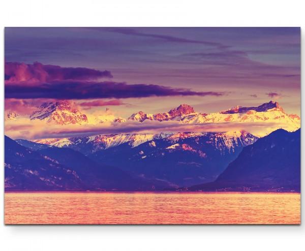 Genf – See Landschaft in der Schweiz - Leinwandbild