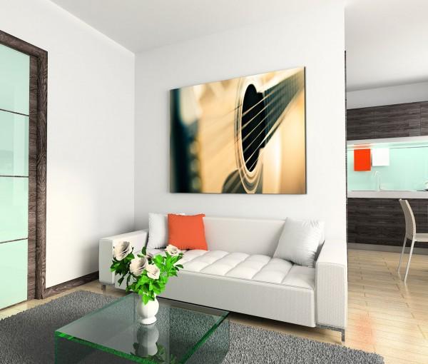 120x80cm Wandbild Gitarre Saiten Nahaufnahme