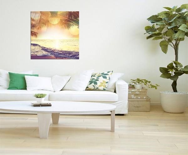 80x80cm Tropen Strand Meer Palme Sonne Licht