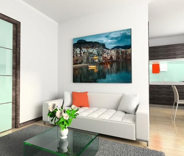 120x80cm Wandbild Sizilien Hafenstadt Häuser Meer Abenddämmerung