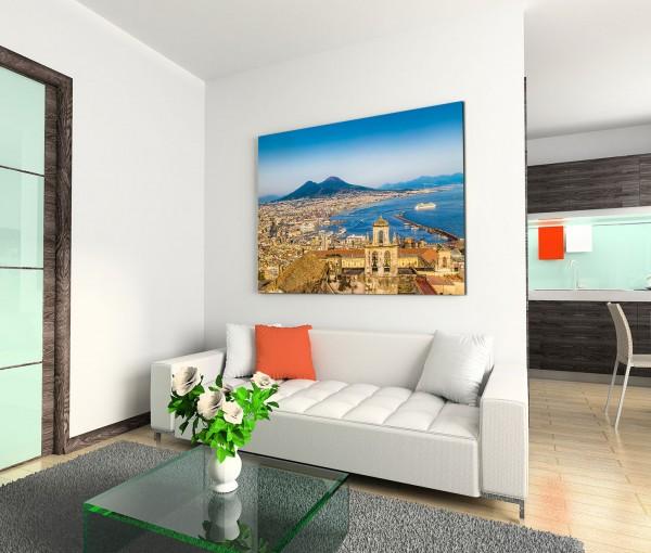 120x80cm Wandbild Italien Neapel Stadt am Meer Vulkan Vesuv Sommer