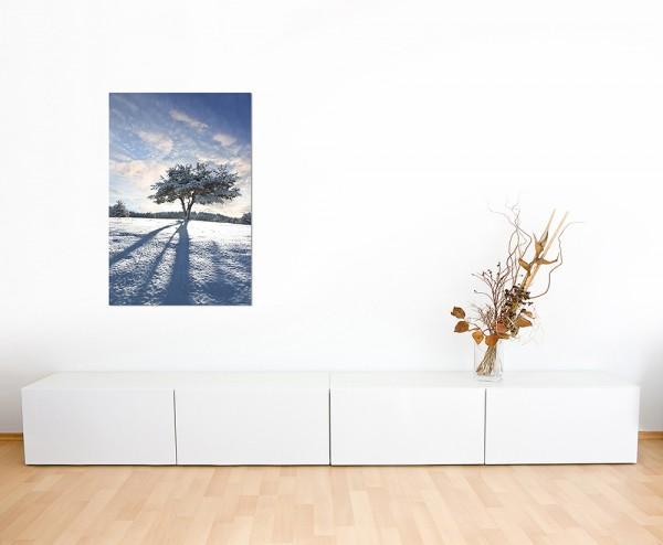 120x60cm Schnee Baum Schatten Winter