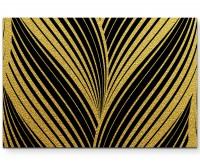 Abstraktes Bild – Goldschimmernde Wellen + schwarzer Hintergrund - Leinwandbild