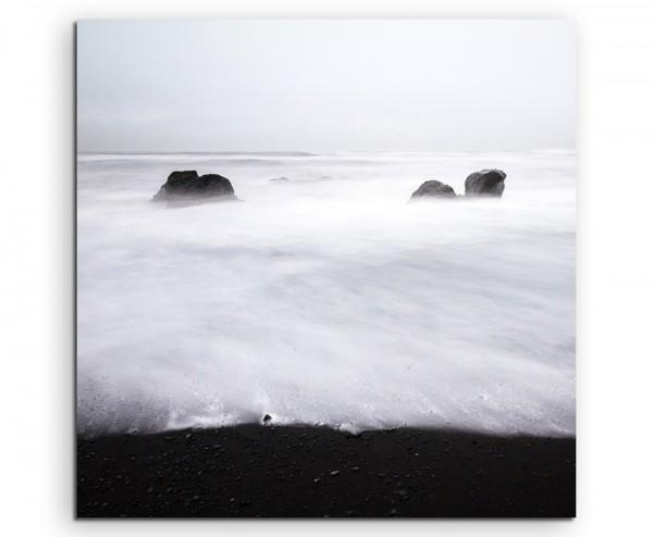 Landschaftsfotografie – Wihnteraussicht am Meer, Island auf Leinwand