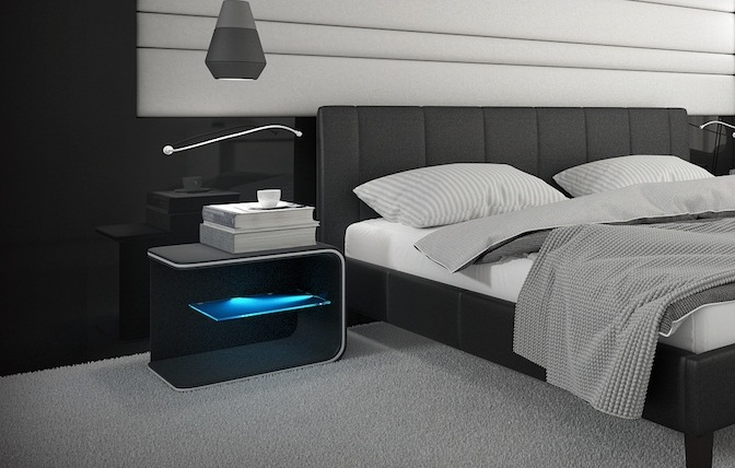 nachttisch spirit schwarz mit led m bel. Black Bedroom Furniture Sets. Home Design Ideas