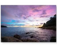 Violetter Himmel am Meer - Leinwandbild