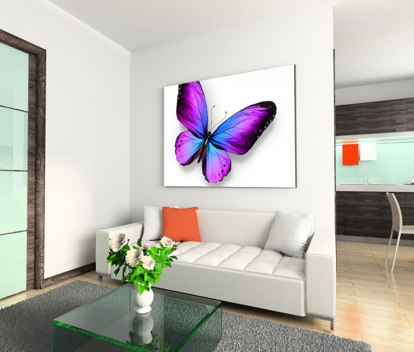 120x80cm Wandbild Schmetterling blau violett