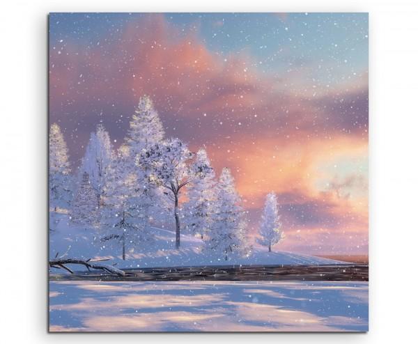 Landschaftsfotografie – Baumgruppe im Schnee mit Sonne auf Leinwand exklusives Wandbild moderne Fot