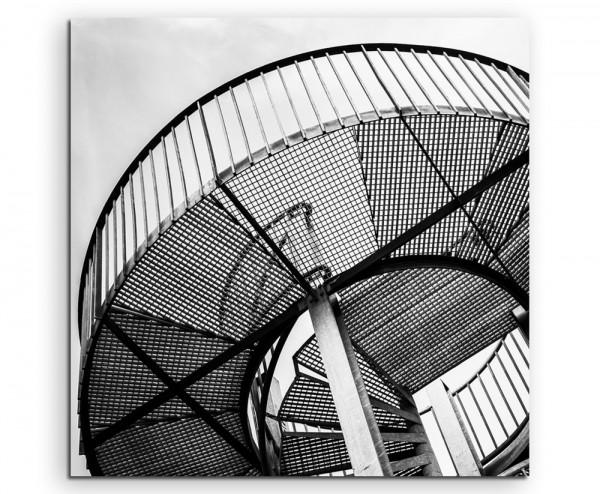 Industriefotografie – Metall Wendeltreppe auf Leinwand exklusives Wandbild moderne Fotografie für ih