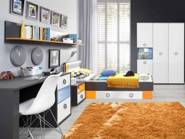 Jugendzimmer colors 5tlg mit 90er bett und 4trg schrank for Schreibtisch yoop