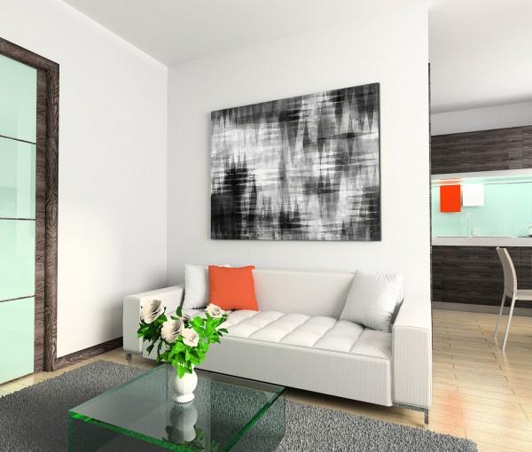 120x80cm Wandbild Hintergrund schwarz weiß abstrakt