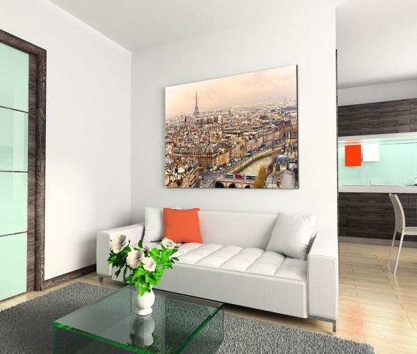 120x80cm Wandbild Paris Stadt Häuser Seine Eiffelturm