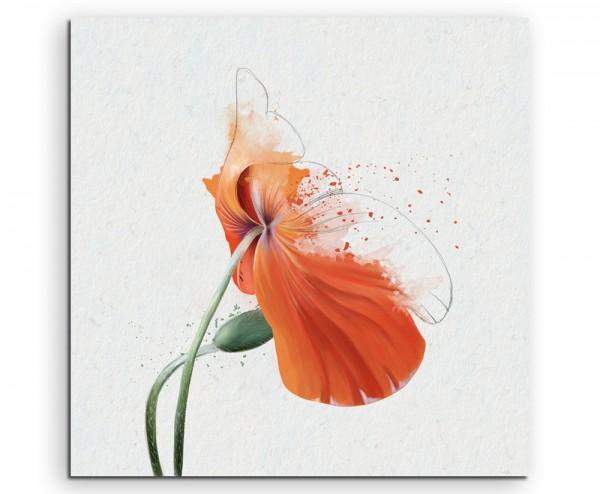 Orange Mohnblumen im Splash Art Stil auf Leinwand