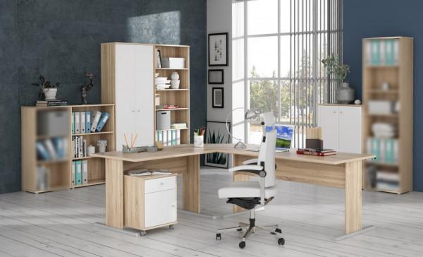 Büromöbel Tempra in Eiche Sonoma- Weiß 6teiliges Superset mit Winkelschreibtisch, Rollcontainer, Sideboard mit Schrank und Regalen, Regalwand mit großem Schrank und großem Regal