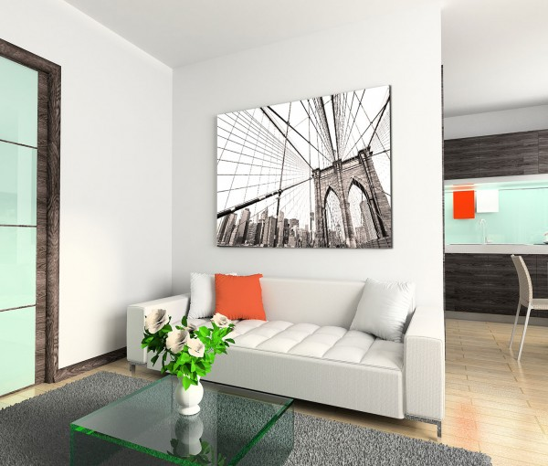 120x80cm Wandbild New York Brooklyn Bridge