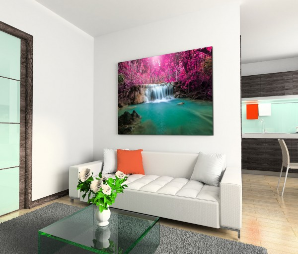 120x80cm Wandbild Thailand Wald Wasserfall Lagune Natur