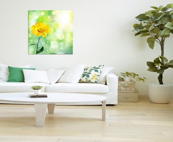 80x80cm Blume Frühling gelb abstrakt