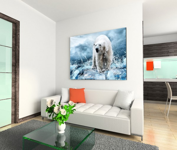 120x80cm Wandbild Eisbär Wasser Eis Wolken