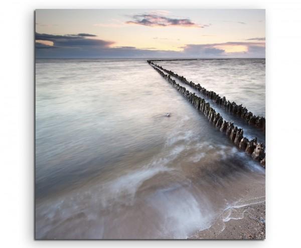 Landschaftsfotografie – Wellenbrecher bei Sonnenaufgang auf Leinwand exklusives Wandbild moderne Fot