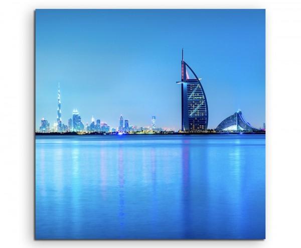 Architekturfotografie – Dubai Skyline im Morgengrauen, UAE auf Leinwand